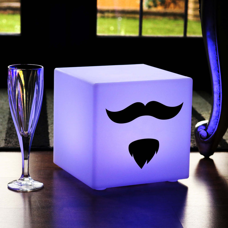 Quirky Light Gift for Him, Lounge Ambient Wireless Table Bedside Lamp for Hotel, Cube , Moustache and Beard Lamp