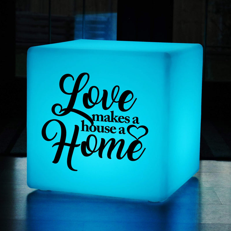 Unique Light Gift for Him, Modern Dimmable Cordless LED Stool for Anniversary, Cube , Love Makes a House a Home Light