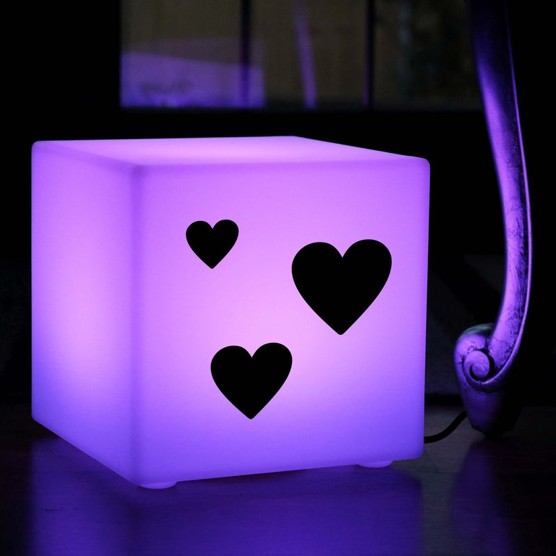 Funky Lightbox, LED Multi Colour Table Bedside Lamp for Wedding, Cube , Mains Powered, Love Hearts Valentine's Gift Light Gift