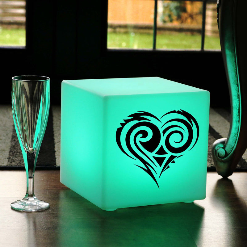 Hand Crafted Light, Living Room Ambient Cordless Table Lamp Centrepiece for Anniversary, Cube , Heart Gift Light