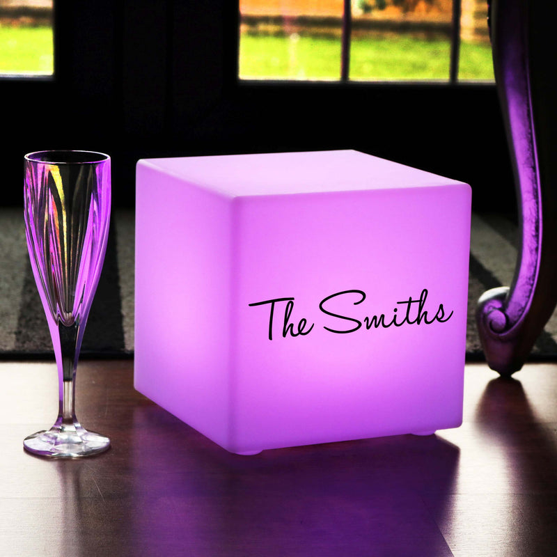 Personalised Sign Light Box, Outdoor Colour Change Cordless Table Lamp Centrepiece for Hotel, Cube 20cm