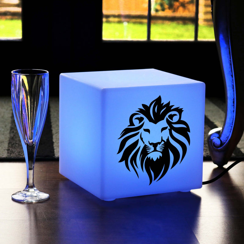 Creative Gift Light for Her, Bedroom Dimmable Table Lamp for Restaurant, Cube , Mains Powered, Lion Head Gift Light