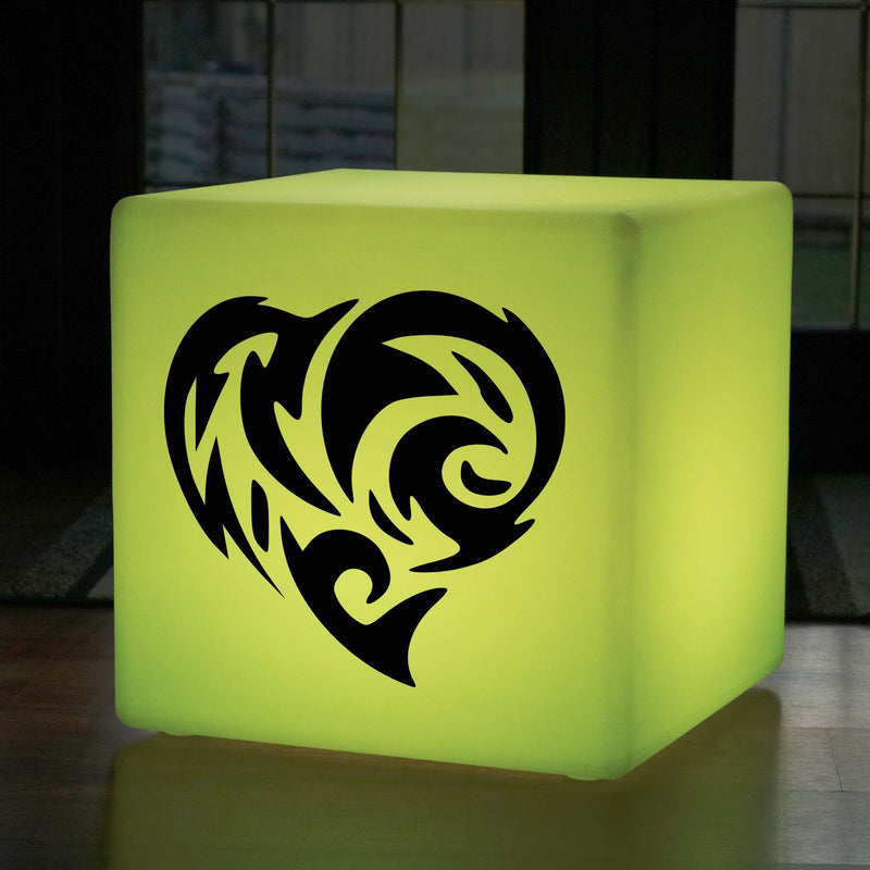 Funky Gift Lamp, Outdoor Multi Colour Rechargeable Illuminated Seat for Night Club, Cube , Flame Heart Gift Light