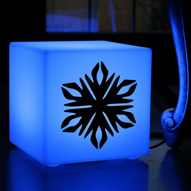 Quirky Gift Light for Her, LED Colour Changing Table Lamp for Night Club, Cube , Mains Powered, Snowflake Lamp