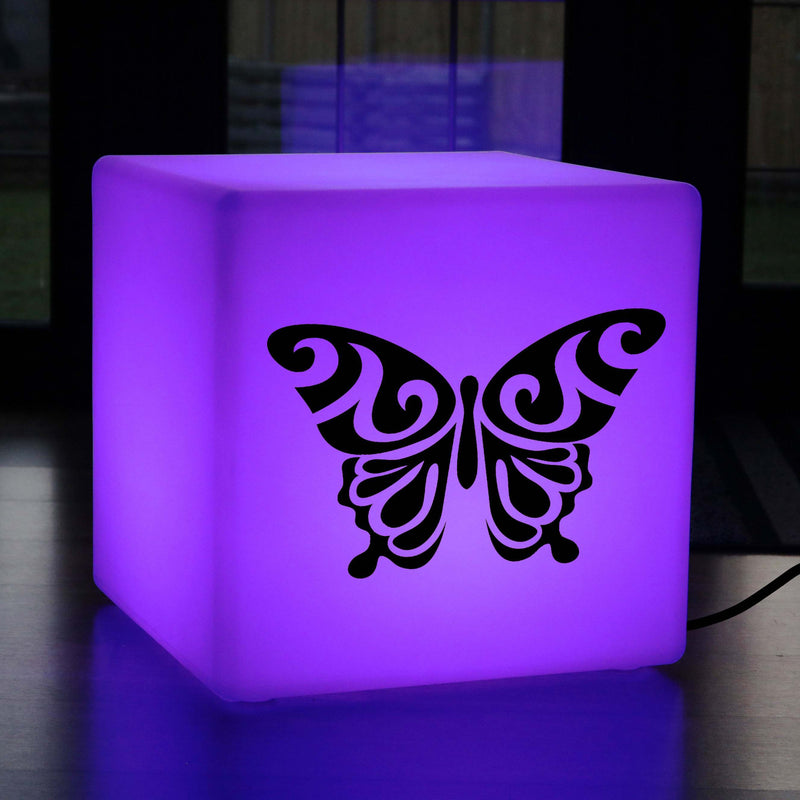 Unique Gift Light, Contemporary Colour Change Light Up Stool for Wedding, Cube , Mains Powered, Butterfly Lamp Gift