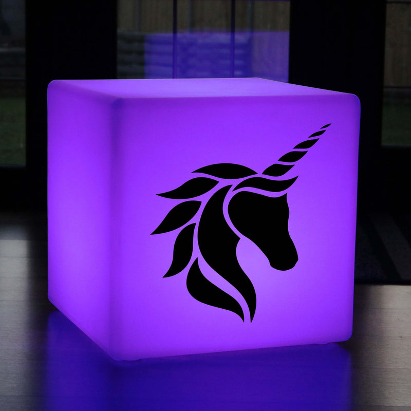 Creative Handmade Light Gift for Him, Contemporary Colour Changing Cordless Stool Seat Furniture for Restaurant, Cube , Unicorn Head Lamp