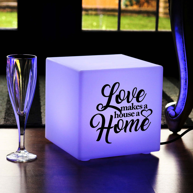 Unique Handcrafted Light Gift for Her, Modern Colour Change Table Lamp Centrepiece for Restaurant, Cube , Mains Powered, Love Makes a House a Home Gift Lamp