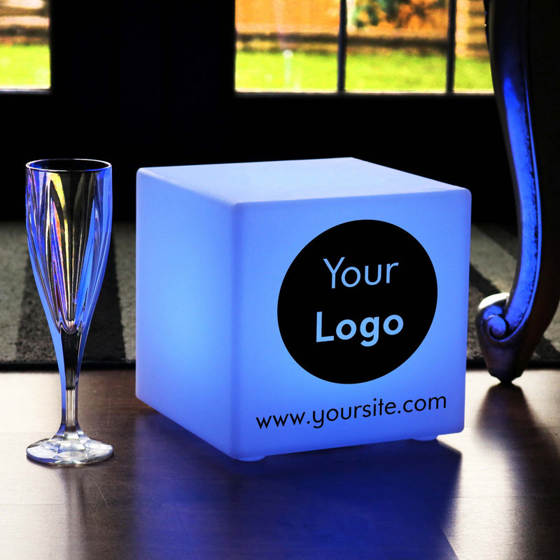 Personalised Sign Gift Light, Waterproof RGB Rechargeable Table Bedside Lamp for Restaurant, Cube