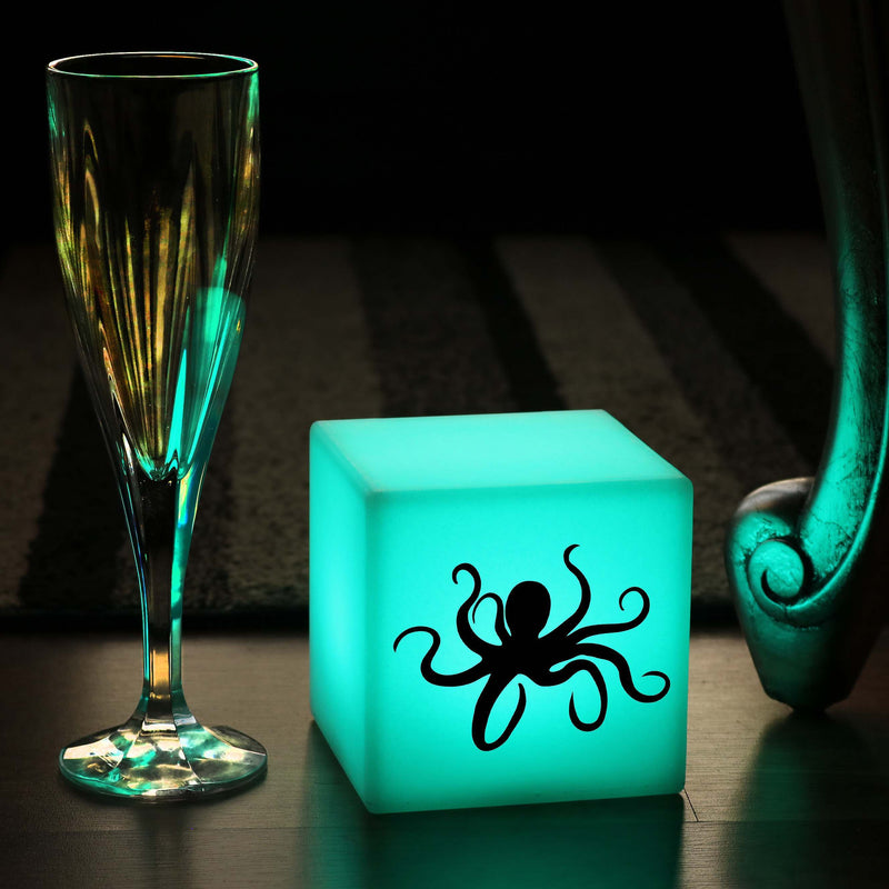 Hand Crafted Gift Light for Him, LED Dimmable Rechargeable Night Light for Restaurant, Cube , Octopus Light Gift