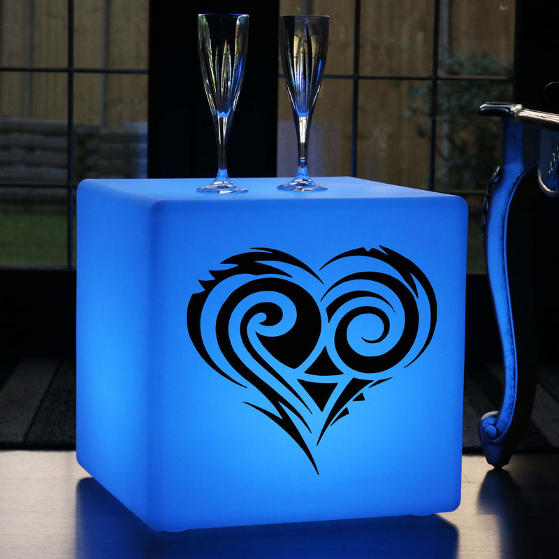 Original Lightbox, Bedroom Multi-Colour Wireless Stool Seat Furniture for Hotel, Cube , Heart Light Gift
