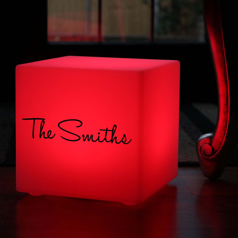Thoughtful Personalised Light Box, Contemporary Dimmable Rechargeable Table Lamp for Event, Cube 30 cm