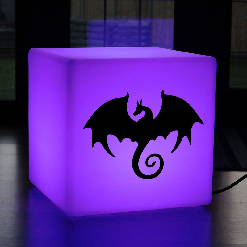 Original Handcrafted Gift Light for Her, LED Colour Changing LED Stool for Birthday, Cube , Mains Powered, Dragon Gift Lamp