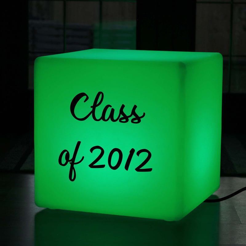 Custom Gift Lightbox, LED Colour Change Illuminated Stool for Wedding, Cube 50cm, Mains Powered