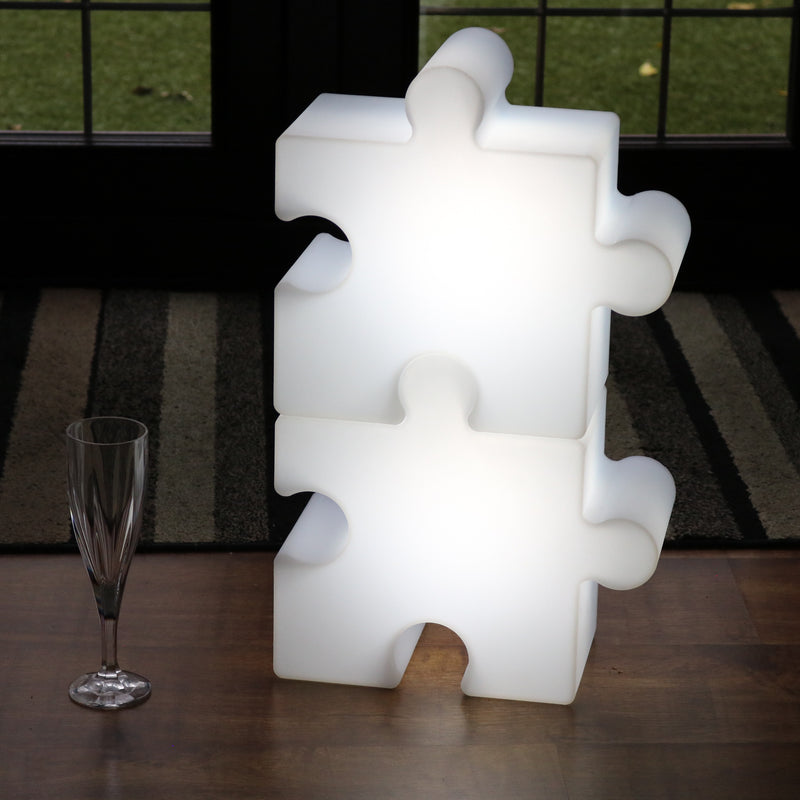 LED Jigsaw Sensory Light Piece Puzzle, Rechargeable Colour Changing Lamp for Kids, Children