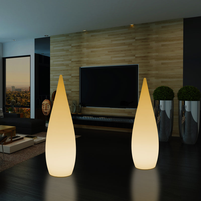 1.2m LED E27 Floor Standing Lamp, Unique Designer Waterdrop Light for Bedroom, Warm White