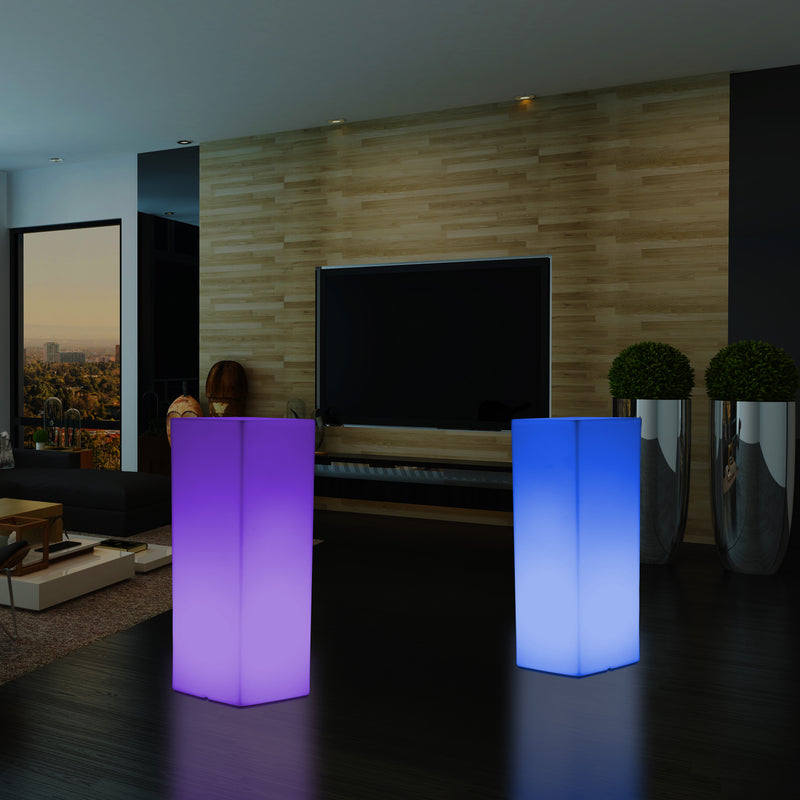 80cm Tall LED Pillar Plinth, Multi Colour RGB Dimmable Floor Lamp, Mains Powered