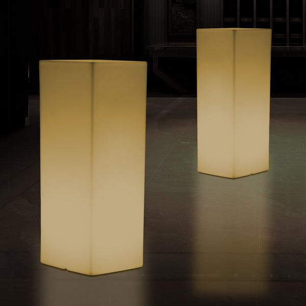 LED Plinth Pillar Column Floor Lamp, Tall Rectangular E27 Light, 110 x 30cm, Warm White