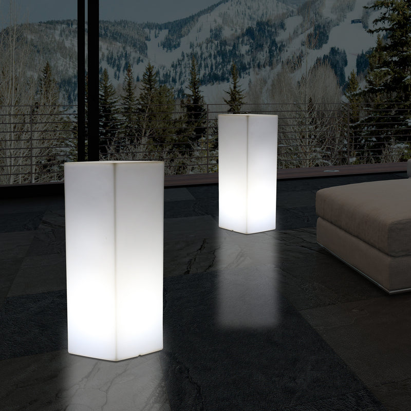 80 cm LED Illuminated Plinth Pillar, Modern E27 Floor Lamp for Event, Lounge, White