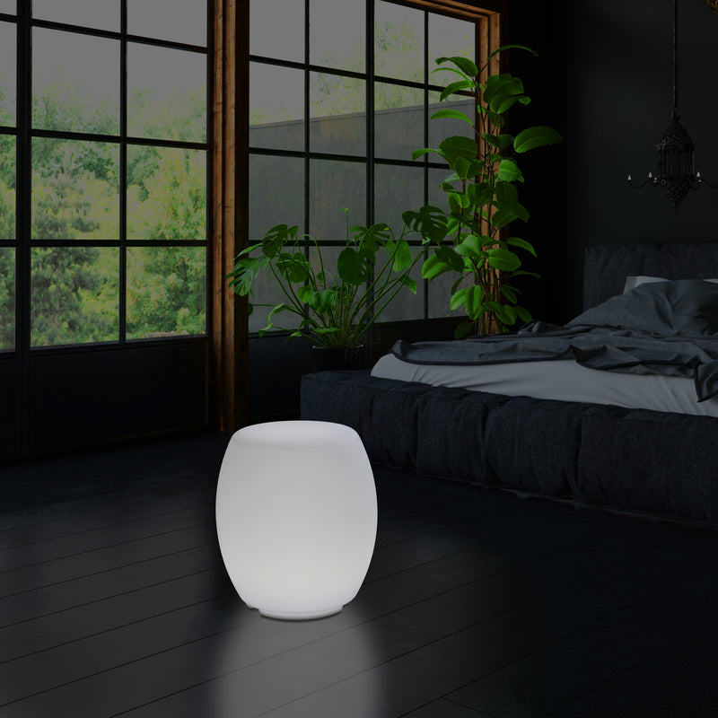 LED Stool Seat Light, Designer E27 Floor Lamp for Living Room, White, 44cm Tall