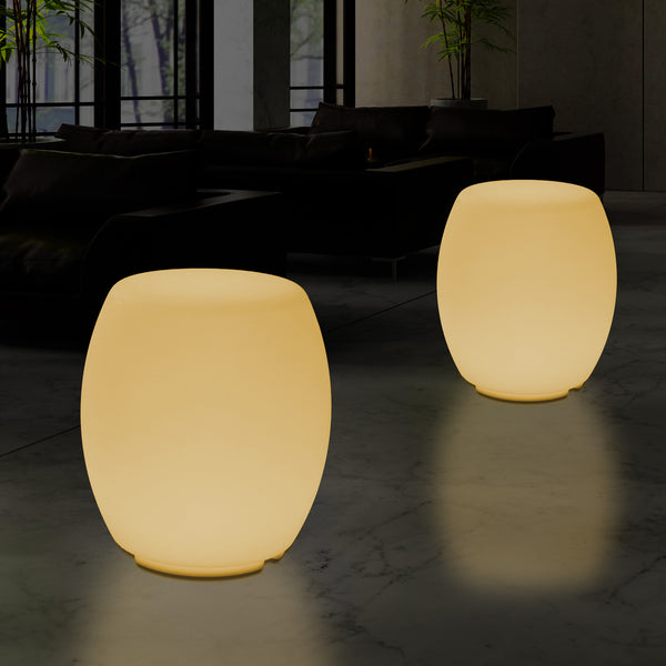 Illuminated Seat Stool Floor Lamp for Bedroom, 44cm Designer LED Lighting, Warm White