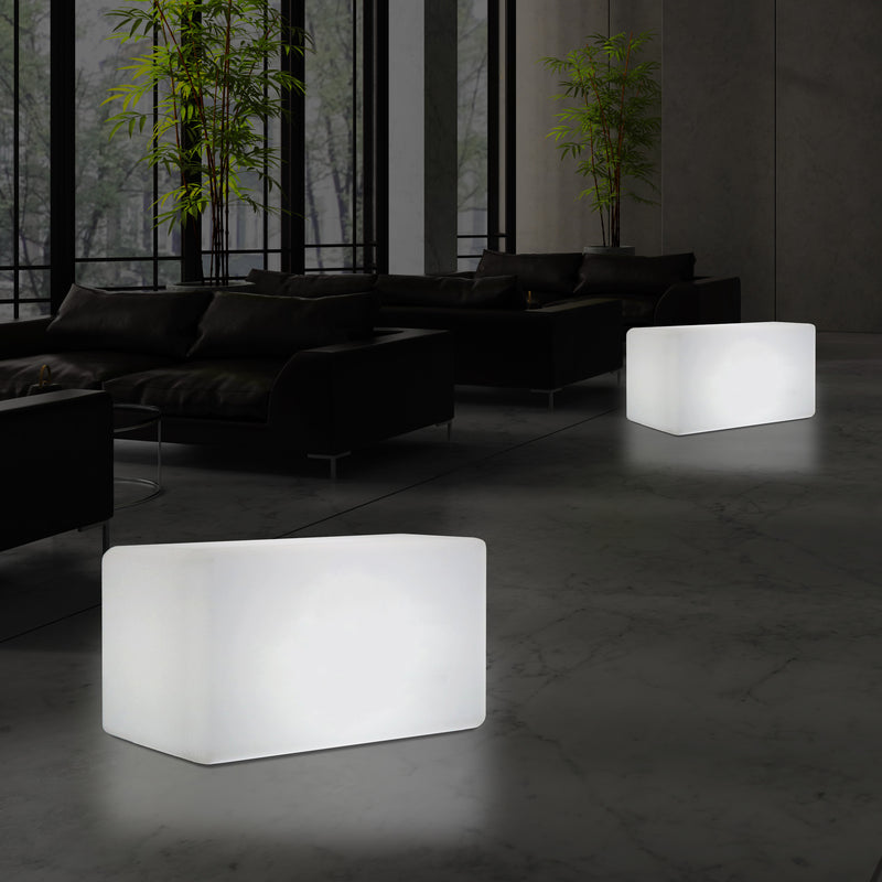 LED Seat Bench Stool Light, 55 x 35 cm, Modern E27 Floor Lamp for Living Room, White