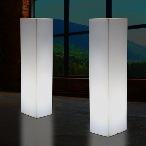 Tall Modern 180 cm Floor Lamp, Illuminated LED Pillar Plinth Column Lighting, E27 White