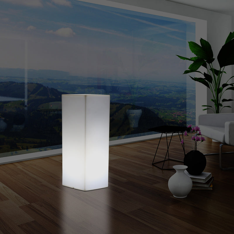 110 x 46 cm Tall LED Plinth Pillar Floor Lamp, Modern E27 Column Bollard Light, White