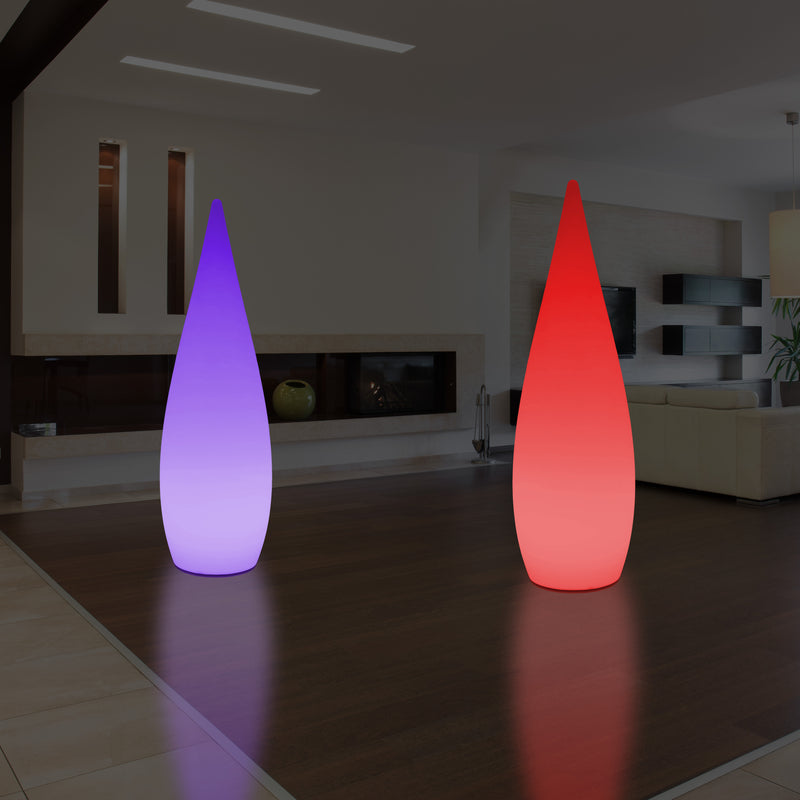 Large Decorative LED Floor Lamp, 1.5 Metre Tall Waterdrop Light, Mains Powered, RGB