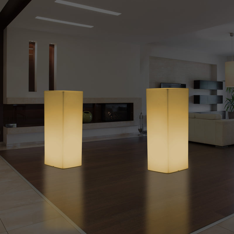 Modern LED Floor Standing Lamp, E27 Illuminated Pillar Plinth Light for Event, Warm White