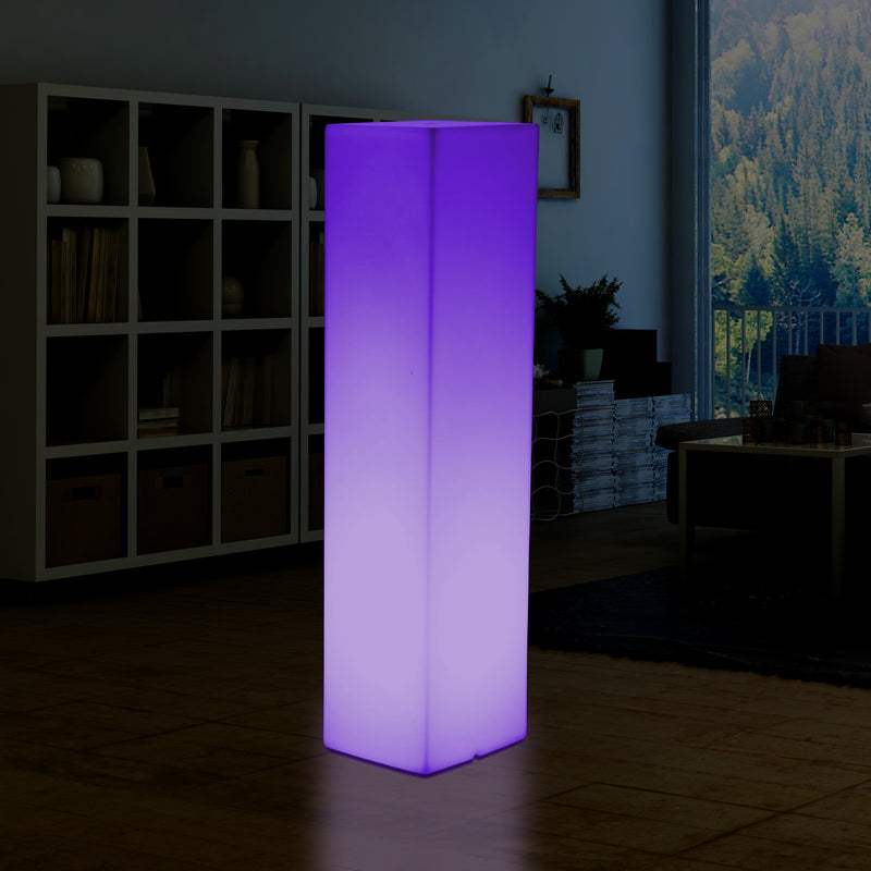 180 cm Tall LED Pillar Plinth Floor Lamp, Outdoor Rechargeable RGB Bollard Column Light