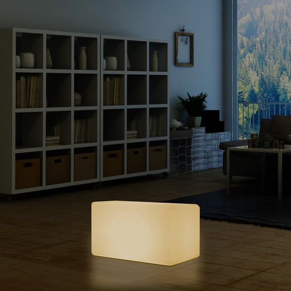 Illuminated LED Bench Seat Stool Light, Warm White E27 Floor Lamp Seating, 55 x 35cm