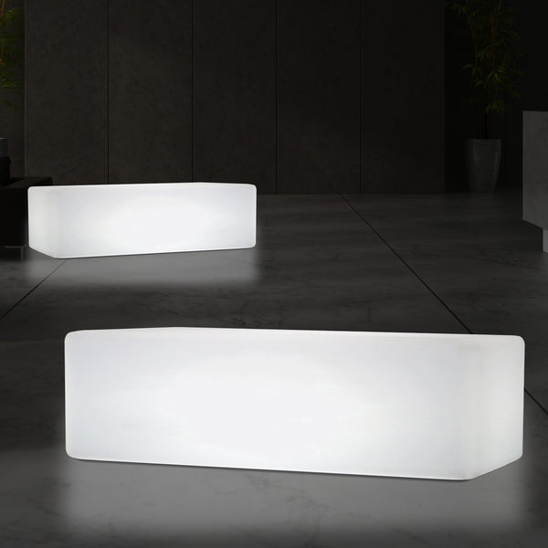 LED Bench, 100 x 50 cm Stool Seat Table Furniture Light, E27 Floor Standing Lamp, White
