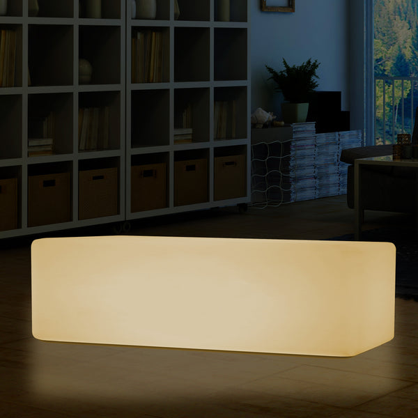Illuminated LED Seat Stool Bench, 100 x 50cm E27 Floor Lamp Table Furniture, Warm White