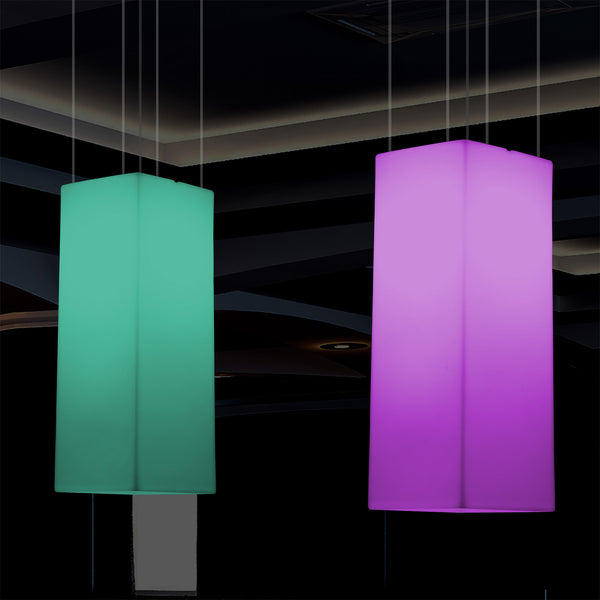 Rectangle LED Ceiling Lamp, Multicolour Linear RGB Hanging Light, 110 x 30cm, Mood Light