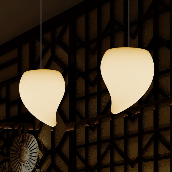 Decorative LED E27 Hanging Ceiling Light, Tear Drop Suspension Pendant Lamp, Warm White