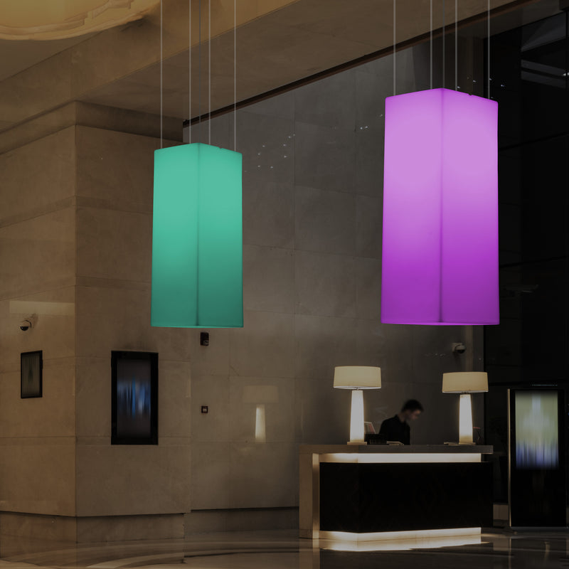 LED Linear Hanging Light, Multi Colour Modern RGB Suspension Lamp, 80x30cm, Atmosphere Lamp