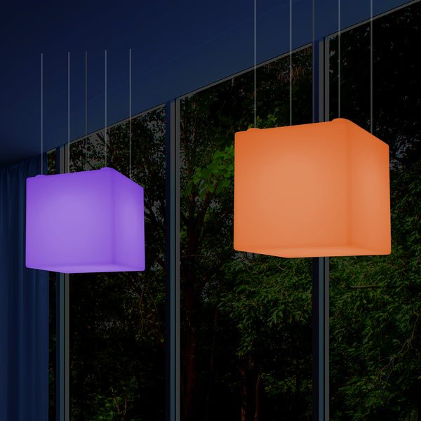 Cube Hanging Lamp, Large Modern RGB Suspension Light, 600 mm, LED Atmosphere Light