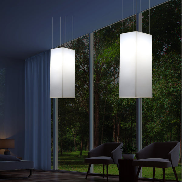 Linear Suspension Lamp, Designer Hanging LED Lighting, 110 x 30 cm, E27, White