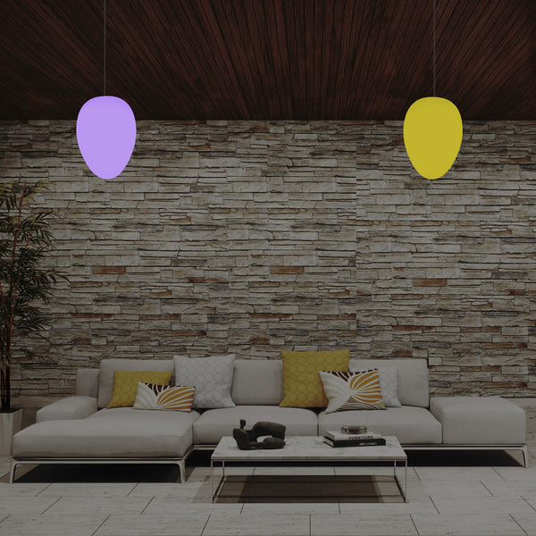 Designer RGB Pendant Hanging Light, Dimmable 37cm Multi Colour Egg Drop Suspension Lamp