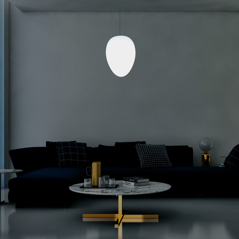 Unique LED E27 Ceiling Pendant Light, Designer Oval Egg Hanging Lamp, 37cm, White Bulb
