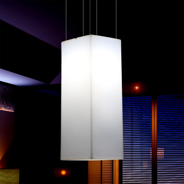 Rectangular LED Hanging Lamp, Modern Pendant Light, 80cm, E27, White