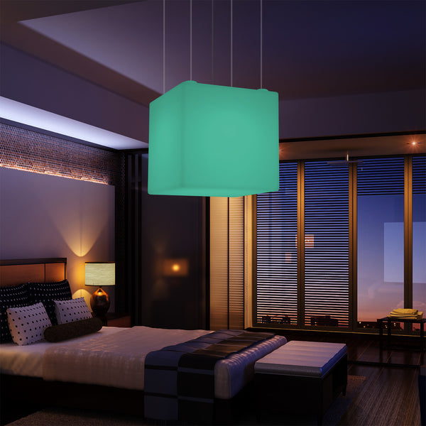 Cube Pendant Lamp, Geometric Ceiling LED Light, 60cm, E27, RGB with Remote Control