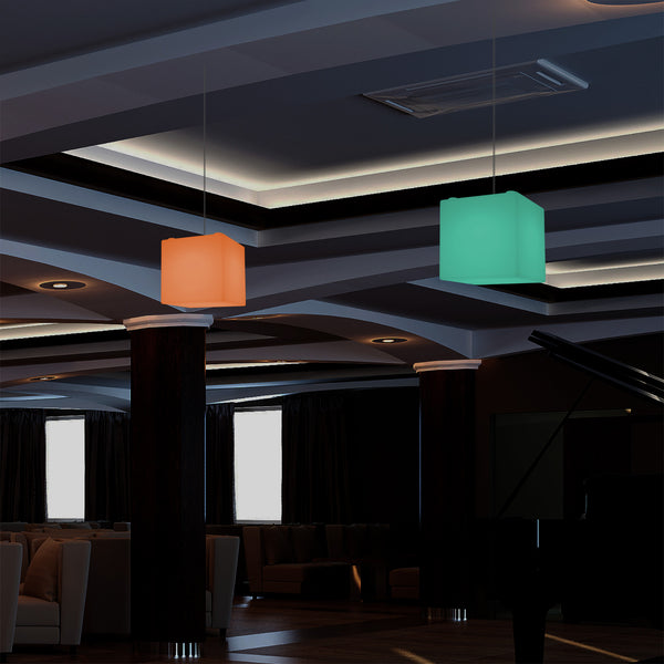 Cube Hanging Pendant Light, 15cm RGB Modern Ceiling Lamp, Multi Colour with Remote