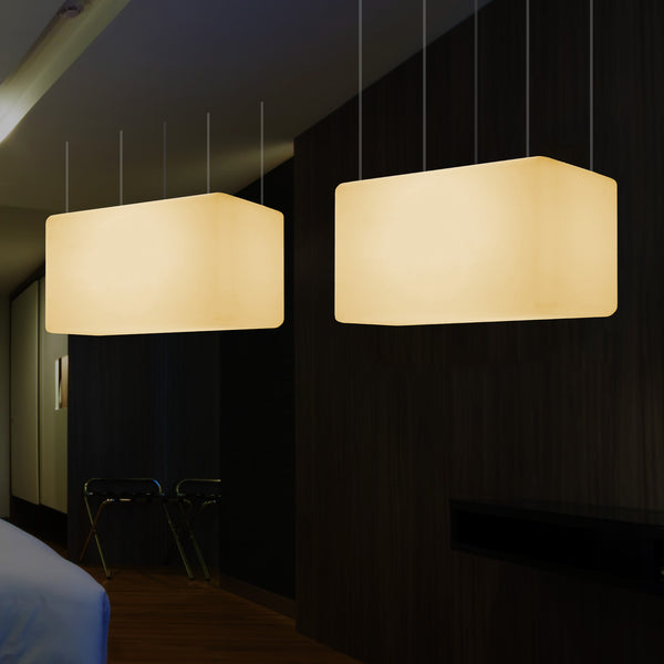 Rectangle Pendant LED Lamp, Modern Suspension Dining Room Light, 55 x 35cm, E27, Warm White