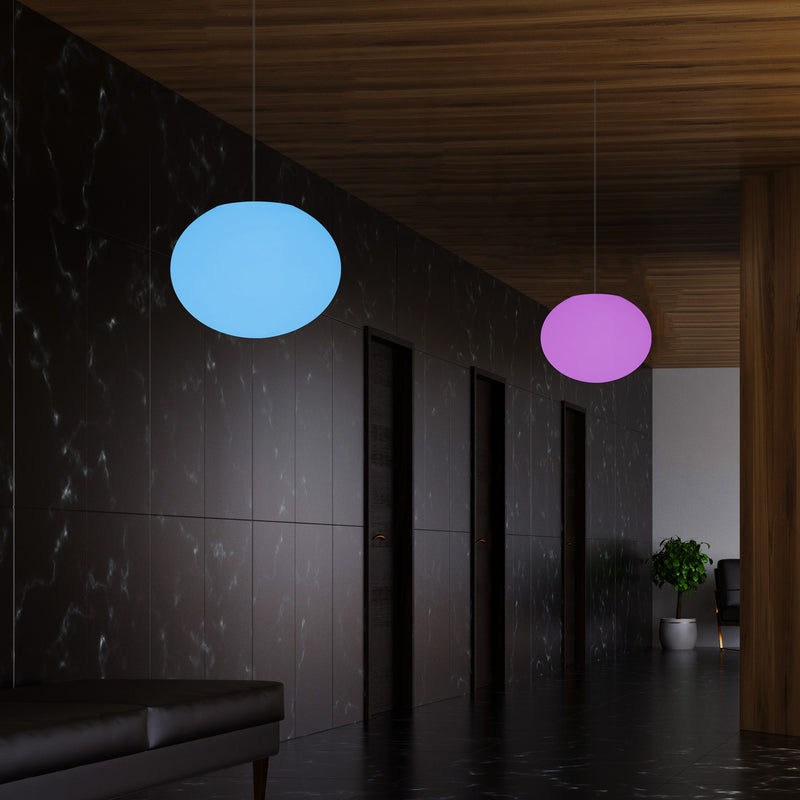 Ellipse Oval Pendant Hanging Light, Dimmable Multi Colour Ceiling Lamp, Flat Globe Ball
