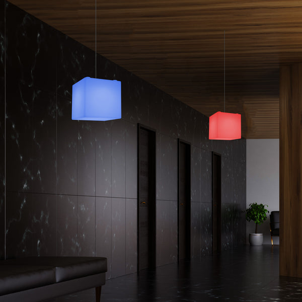 Cube Suspension Lamp, Modern Pendant LED Light, 20cm, E27, Multi Colour