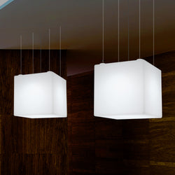 Cube Suspension LED Lamp, Large Geometric Pendant Light, 600 mm, E27, White