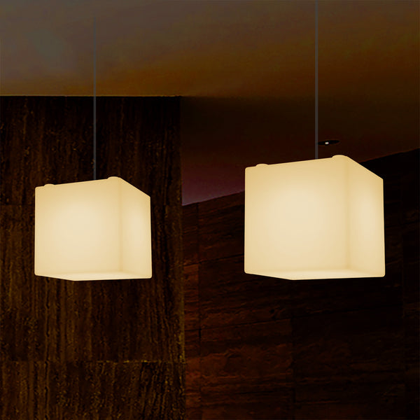 Geometric Ceiling Light, Cube LED Hanging Lamp, 20 x 20 cm, E27, Warm White