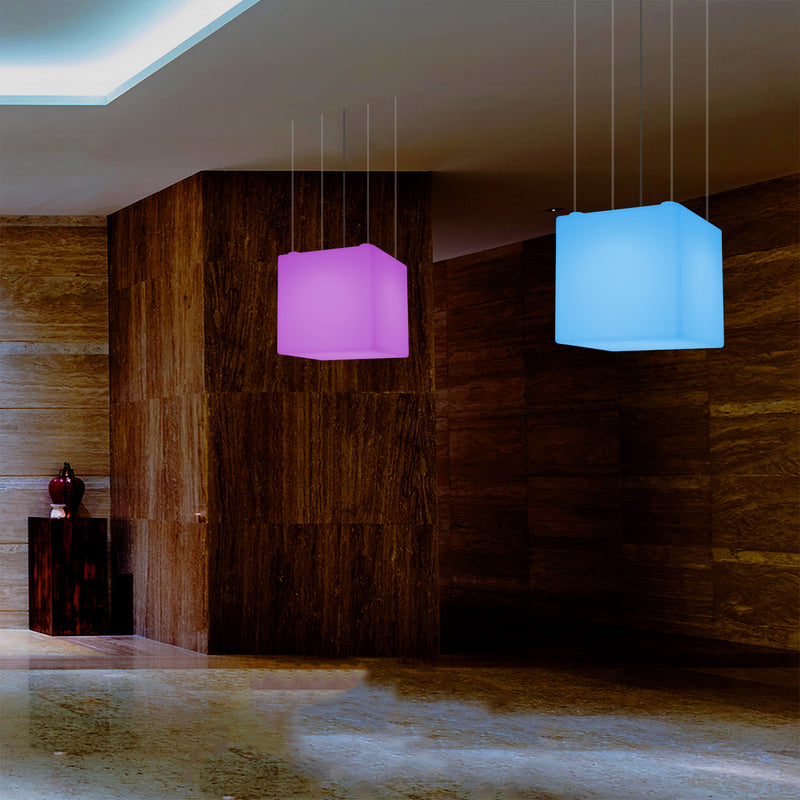 Cube LED Ceiling Light, Decorative Hanging Lamp, 500 mm, E27, RGB Mood Lighting