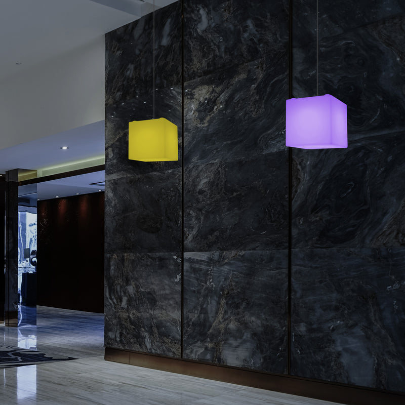 Cube Hanging Lamp, Multi-Colour Modern RGB Ceiling Light, 200 mm, LED SMD Mood Lamp